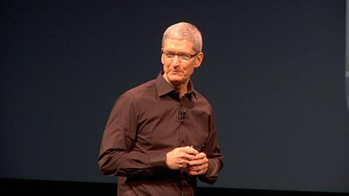 Apple CEO Tim Cook at Apple's press event Wednesday in San Francisco