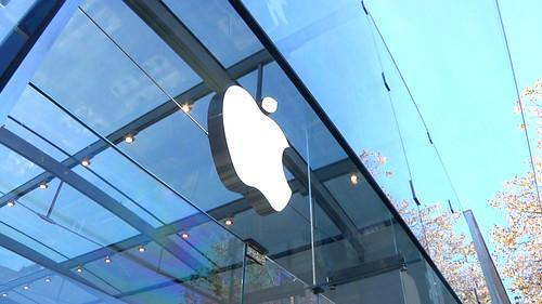 The Apple logo outside the company's Palo Alto store