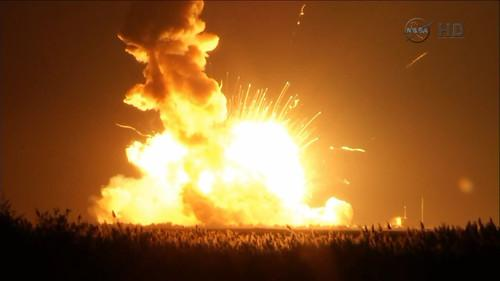 Orbital Science Corp.'s Antares rocket explodes seconds after lift-off on October 28, 2014