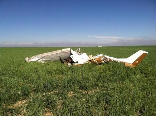 The scene of the May 31 plane crash that killed a passenger and pilot.