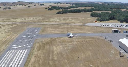 A view of Carnegie Mellon University's Crossmobile seen from a drone during a field test.