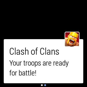 """An Android Wear notification from """"Clash of Clans""""."""