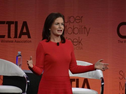 CTIA President and CEO Meredith Attwell Baker speaks on Wednesday in a keynote session at the CTIA trade show in Las Vegas.
