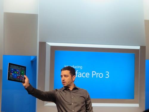 Microsoft's Panos Panay showing Surface Pro 3 at event in New York