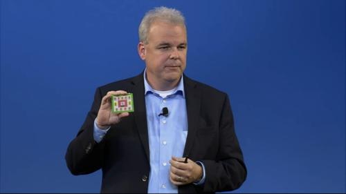 HP's Martin Fink shows a mock-up of a memristor module at an HP conference in Las Vegas