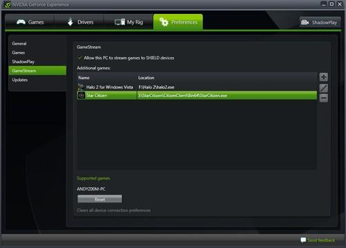 Nvidia's GeForce Experience software setting to add streaming games
