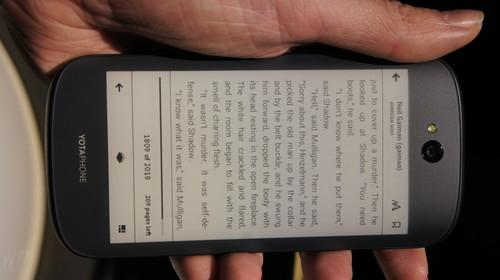 The YotaPhone 2 can be used as an e-reader for up to five days.