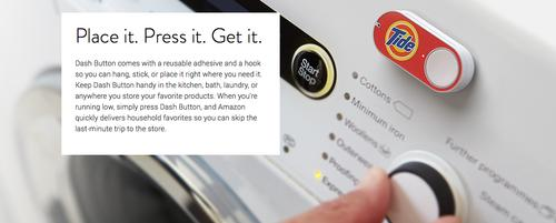 An image outlining Amazon's Dash button for instant purchases, from the company's website.