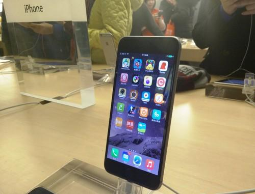 An iPhone 6 Plus in a Beijing Apple store.