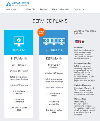 The pricing plans for Advanced Tech Support, a Florida-based inbound call center.
