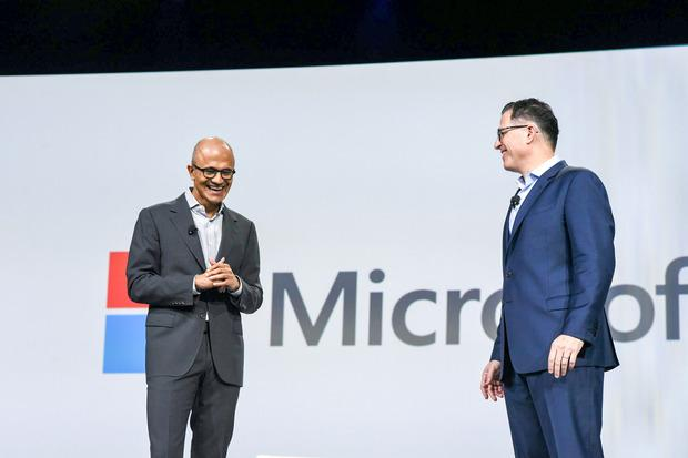 CEO Michael Dell and Microsoft CEO Satya Nadella appear on stage at the Dell World conference on Oct. 21, 2015 Credit: Dell