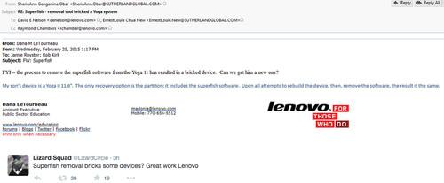 The Lizard Squad managed to capture some of Lenovo's internal email on Wednesday by hacking its domain name registrar account.
