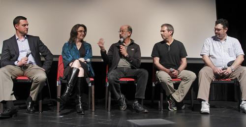 A panel including Facebook's Bill Weihl, center, and Google's Gary Demasi, far left, at a Greenpeace event Wednesday.
