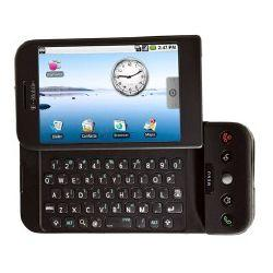 The G1, the first phone to run Google's Android software, includes a touch screen and a slide-out Qwerty keyboard.