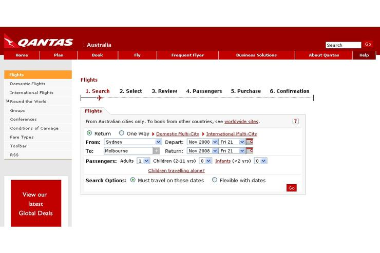 A Qantas' customer was able to access other customers' details when accessing her online check-in details at the secure booking site today.