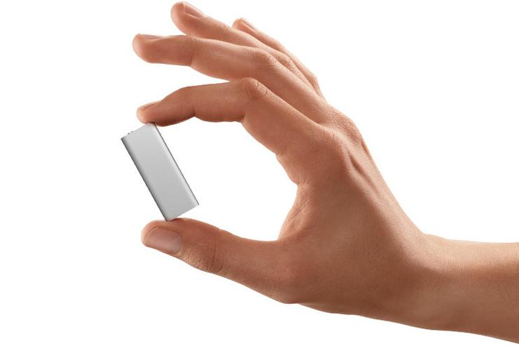 The Apple iPod shuffle has a minimalist design and no control buttons.