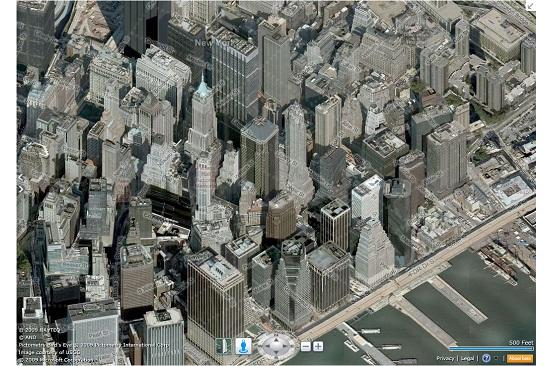 "The new Bing Maps that went into beta Wednesday includes a new ""urban view"" that's made up of 3D-like images."