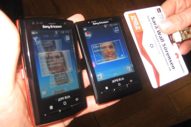 Where did that phone go? From L to R: Sony Ericsson's XPERIA X10 Mini Pro, X10 Mini and a security pass the size of a credit card.