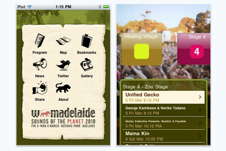 2moro mobile's iPhone app for WOMADelaide 2010