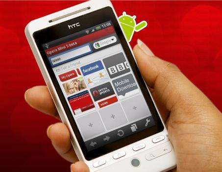 Opera Mini 5 is now available for Google's Android OS