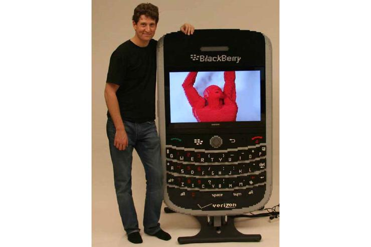 Nathan Sawaya's oversized Lego model of the BlackBerry Tour 9630 smartphone.