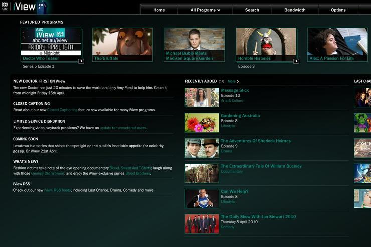 The traditional iView interface will not be available when viewing on a BRAVIA television; instead a cut-down mobile version of the site is served directly to TVs and Blu-ray players.