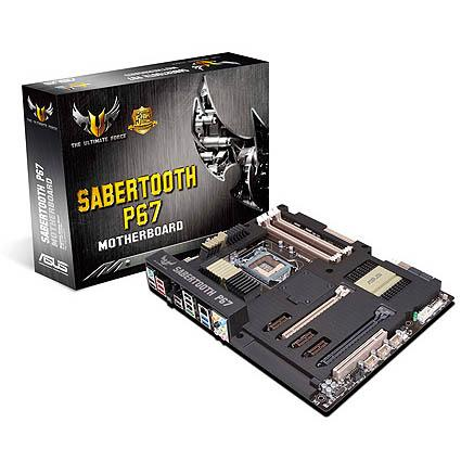 The ASUS SABERTOOTH P67 motherboard.