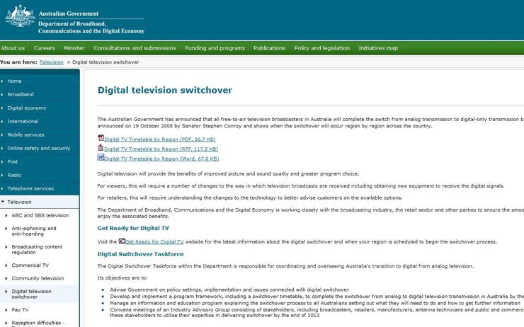The DBCDE's Digital Television Switchover Web site.