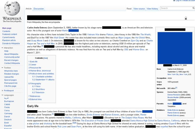 The Wikipedia page of [redacted].