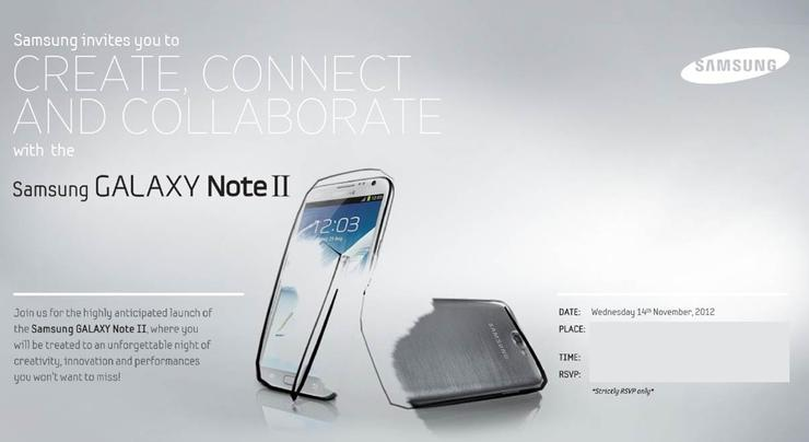 The invitation Samsung issued today for the Australian launch of the Galaxy Note II.