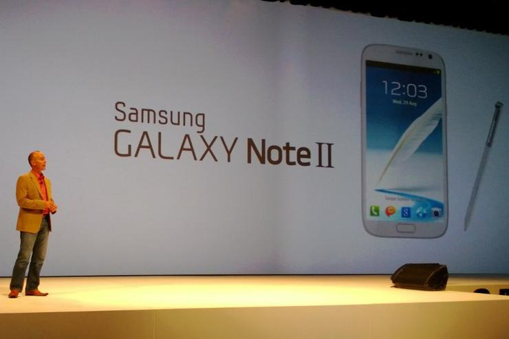 Samsung Australia's vice-president of telecommunications, Tyler McGee, officially unveils the Galaxy Note II in Sydney last night.
