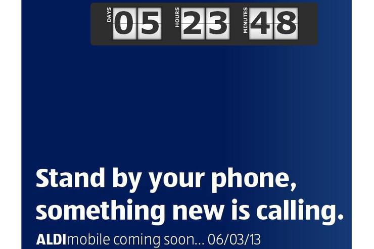A screenshot of the Aldi Mobile website, currently showing a countdown timer that is set to end on Wednesday 6 March at 8.30am.