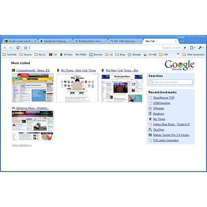 Google Chrome's new tab screen shows thumbnails of the most visited sites for easy selection.