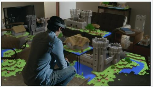 Microsoft Windows Holographic and the HoloLens headset will enable 3D gaming, like this demo of Minecraft played on an entire living room floor.