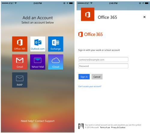The new Office 365 login option in Outlook for iOS