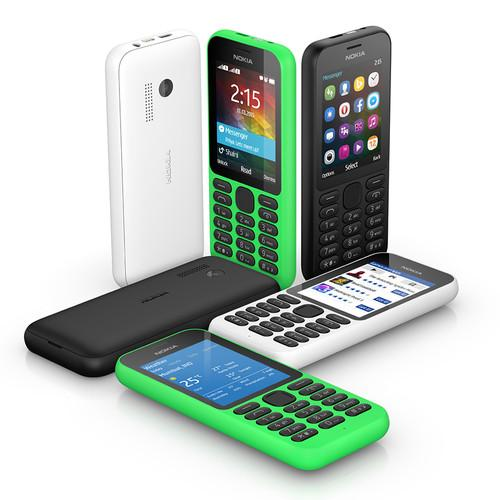 The Nokia 215 lacks a 3G connection, but has Twitter and Facebook integration.