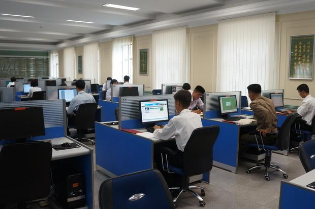 Students use computers at Kim Il Sung University in Pyongyang on May 23, 2014. Credit: Uri Tours