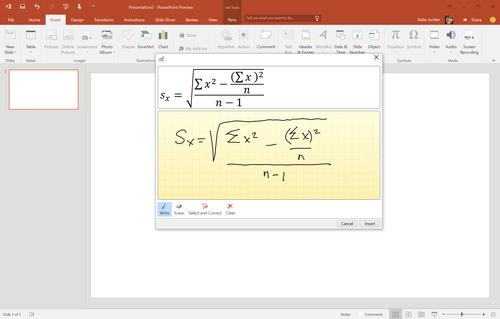 The new equation editor in PowerPoint 2016 preview