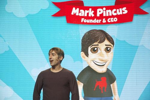 Zynga CEO Mark Pincus launches new games at the company's new San Francisco office Tuesday