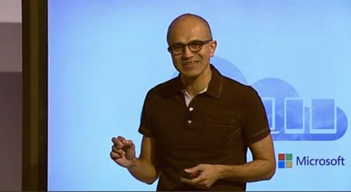 Satya Nadella talks about new Microsoft products during a webcast.