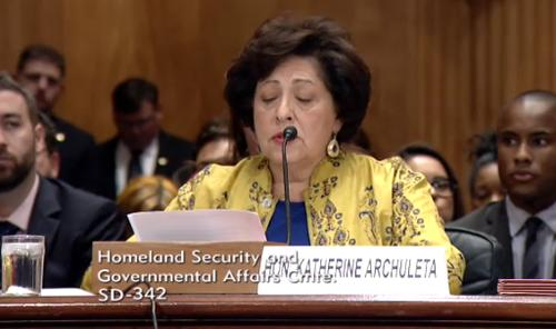 Katherine Archuleta, director of the U.S. Office of Personnel Management, testifies about recent data breaches during a Senate hearing June 25, 2015.