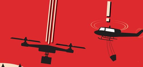 This image shows a detail of a U.S. Department of Agriculture public awareness poster warning people not to fly drones around wildfires.
