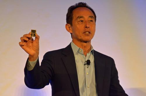 Young Sohn, president and chief strategy officer at Samsung Electronics, shows off the company's Artik 5 module for Internet of Things devices at the Internet of Things World conference in San Francisco.