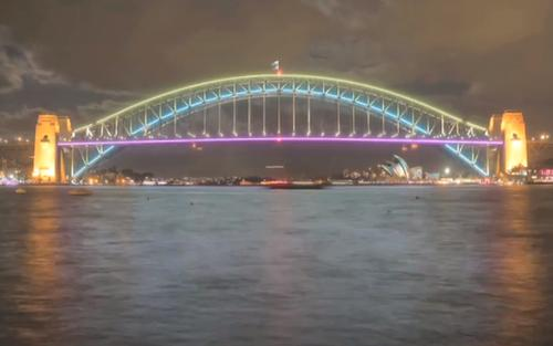 Sydney Harbor Bridge lit up