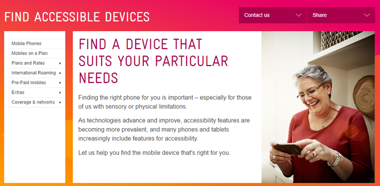 The header of Telstra portal for people with disability.