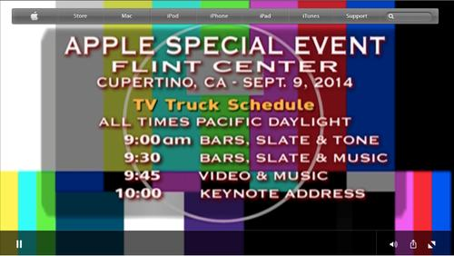 The test card was a common site during the Apple launch event Tuesday