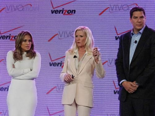 From left, Viva Movil founder Jennifer Lopez, Verizon Wireless Executive Vice President and Chief Operating Officer Marni Walden, and Brightstar Chairman and CEO R. Marcelo Claure.