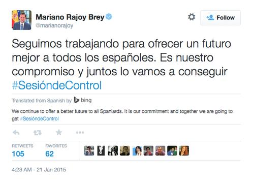 A tweet by Spanish Prime Minister Mariano Rajoy Brey, translated from Spanish to English using Twitter's new tool.