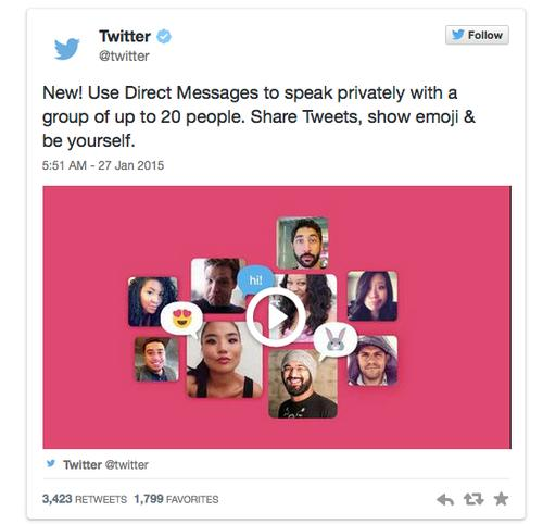 Twitter's new tool lets users send private messages to a larger group.