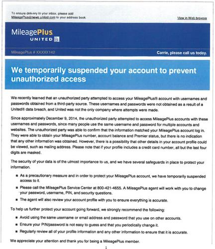 Login credentials from a third party were used to fraudulently access about three dozen MileagePlus accounts, which is United Airlines' loyalty rewards program.